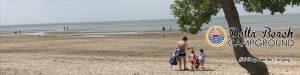 family enjoying the beach banner
