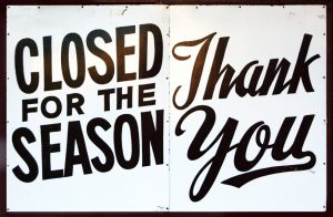 closed for the season sign - thank you
